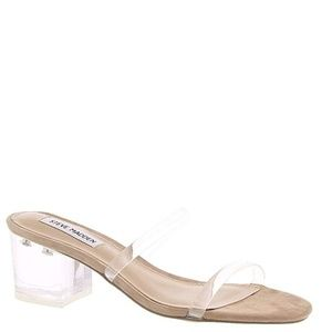 Steve Madden Issy Clear Block Heel Sandals 6.5